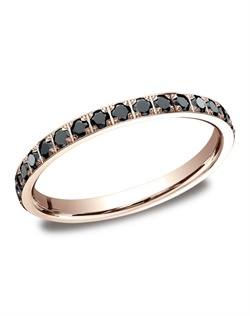 This gorgeous 2mm comfort-fit pave set eternity diamond ring features beautiful round ideal-cut black diamonds and polished edges that offer a touch of elegance.