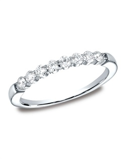 This elegant 2.5mm comfort-fit shared prong diamond band features round ideal cut diamonds. Total approximate carat weight is .32ct.