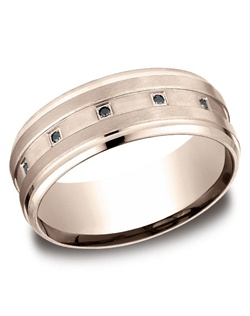 This sophisticated 8mm comfort-fit diamond band features 12 black round ideal cut diamonds pave set within a satin finished groove with high polish edges. Total diamond carat weight is approximately .12ct.