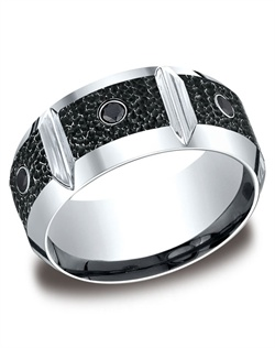 This unique 10mm comfort-fit Cobalt band features high polished horizontal grooves between three round ideal-cut black diamonds and a blackened hammered finish.  Approximate total diamond carat weight is .20ct.