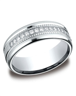 This beautiful 7.5mm comfort-fit diamond band features a roped-design surrounding gorgeous round ideal-cut diamonds.  Total approximate carat weight is .32ct.