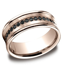 This unique 7.5mm comfort-fit concave pave set diamond band features black round ideal-cut diamonds and high polished edges for unforgettable style. Total diamond carat weight is approximately .32ct.