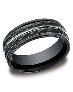 This incredible black 8mm comfort-fit Cobalt band features a hammered finish with a high-polished center cut down the middle and bold round edges.