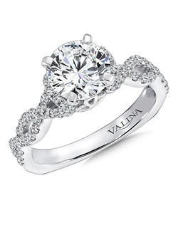14K White Gold Semi-Mount Ring featuring 0.42ct natural white diamonds.