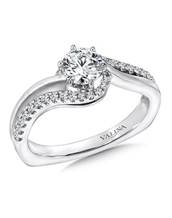 14K White Gold Semi-mount feautiring 0.2ct natural white diamonds