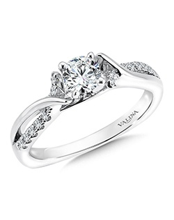 14K White Gold Semi-mount feautiring .12 ct natural white diamonds