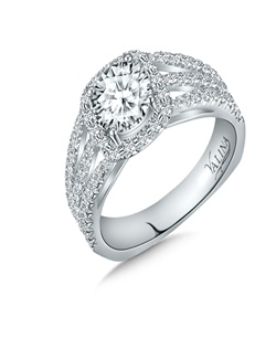 14K White Gold Semi-mount feautiring .63ct natural white diamonds