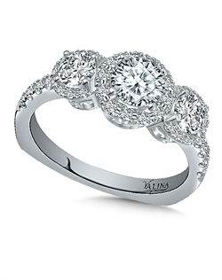 14K White Gold Semi-mount feautiring 1.40ct natural white diamonds