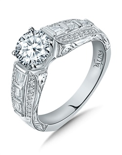 14K White Gold Semi-mount feautiring .53ct natural white diamonds