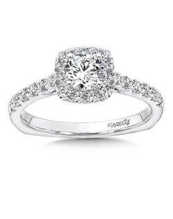 14K White Gold semi-Mount ring featuring 0.38ct Caro 74 diamonds.