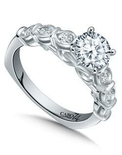 14K White Gold semi-Mount ring featuring 0.30ct Caro 74 diamonds.