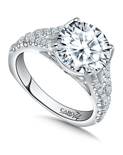 14K White Gold semi-Mount ring featuring 0.43ct Caro 74 diamonds.