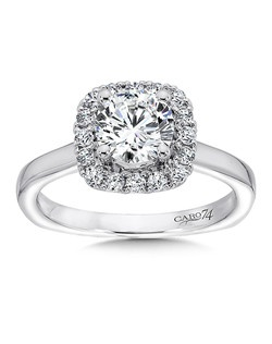 14K White Gold CARO 74 RING with platinum head. A shiny 14k white gold band with cushion shaped diamond halo and round center stone.  Also available in white gold, yellow gold, 18K and Platinum. Price excludes center stone
