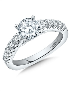 14K White Gold semi-Mount ring featuring 0.39ct Caro 74 diamonds.