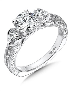 14K White Gold semi-Mount ring featuring 0.52ct Caro 74 diamonds.