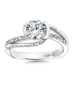 14K White Gold CARO 74 RING with platinum head. Strands of diamond bands swirl around a round diamond center stone that is framed in 14k white gold in this contemporary design.  Also available in white gold, yellow gold, 18K and Platinum. Price excludes center stone