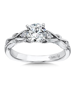 14K White Gold semi-Mount ring featuring 0.10ct Caro 74 diamonds.