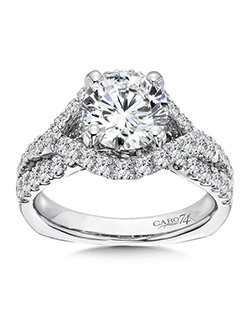 14K White Gold semi-Mount ring featuring 0.95ct Caro 74 diamonds.