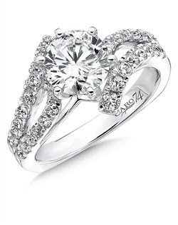 14K White Gold semi-Mount ring featuring 0.62ct Caro 74 diamonds.