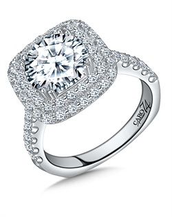 14K White Gold semi-Mount ring featuring 0.98ct Caro 74 diamonds.