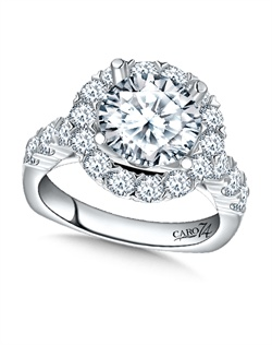 14K White Gold semi-Mount ring featuring 1.74ct Caro 74 diamonds.