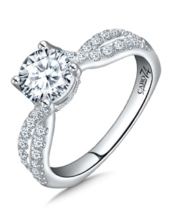 14K White Gold semi-Mount ring featuring 0.41ct Caro 74 diamonds.