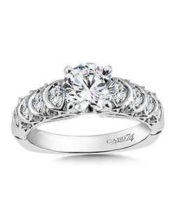 14K White Gold semi-Mount ring featuring 0.61ct Caro 74 diamonds.