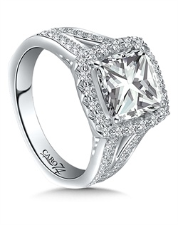 14K White Gold semi-Mount ring featuring 0.60ct Caro 74 diamonds.