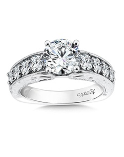 14K White Gold semi-Mount ring featuring 0.92ct Caro 74 diamonds.