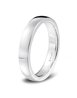 Blue Nile platinum wedding band crafted in platinum with a substantial feel, squared sides, and a rounded interior surface for a classically durable, comfortably wearing band.