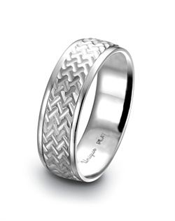 Unique Settings of New York platinum men's wedding band with a milled herringbone finish.<BR><BR>Facebook: https://www.facebook.com/jewelryplatinum?fref=ts