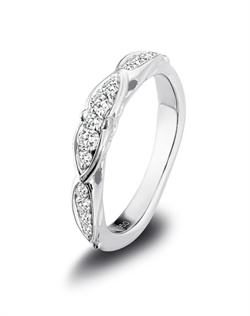Harout R platinum and diamond wedding band featuring a marquise shape pave set on half way band.<BR><BR>Facebook: https://www.facebook.com/jewelryplatinum?fref=ts