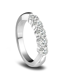 Hearts on Fire platinum five-stone wedding band features 5 diamonds totaling 1.00ctw.<BR><BR>Facebook: https://www.facebook.com/jewelryplatinum?fref=ts