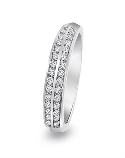 Novell Studio Platinum Collection platinum two row pave wedding band.<BR><BR>Facebook: https://www.facebook.com/jewelryplatinum?fref=ts