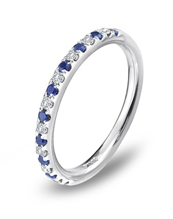 Delicate and brilliant, this Blue Nile platinum wedding band features alternating pav&#233; set diamonds and sapphires for a classic and colorful look.&lt;BR&gt;&lt;BR&gt;Facebook: https://www.facebook.com/jewelryplatinum?fref=ts