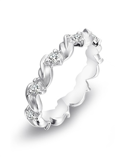 Parade Designs platinum nature-inspired eternity band featuring matte-finished leaf designs and diamonds.<BR><BR>Facebook: https://www.facebook.com/jewelryplatinum?fref=ts