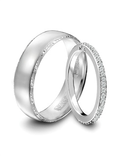 Tacori men's platinum wedding band featuring signature engraving and milgrain detail and women's platinum and diamond eternity band.<BR><BR>Facebook: https://www.facebook.com/jewelryplatinum?fref=ts