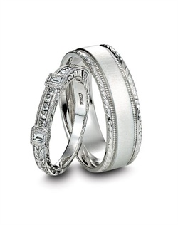 Kirk Kara hand engraved platinum and diamond wedding bands.<BR><BR>Facebook: https://www.facebook.com/jewelryplatinum?fref=ts