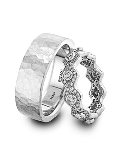 Ritani platinum and diamond wedding band with men's platinum wedding band.<BR><BR>Facebook: https://www.facebook.com/jewelryplatinum?fref=ts