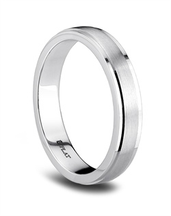 This Blue Nile platinum wedding band has a brushed finish with a notched and polished edge for a subtle touch of shine.<BR><BR>Facebook: https://www.facebook.com/jewelryplatinum?fref=ts