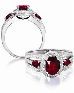 14K White Gold Ruby and Diamond Engagement Ring. An 8x6 Oval Ruby is surrounded by .50cttw of round brillant diamonds and two pear shaped .40cttw rubies.