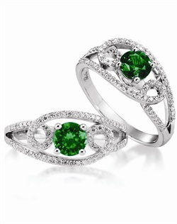 14K White Gold Emerald and Diamond Engagement Ring. A 0.65ct Round Emerald is surrounded by 0.30cttw of round brillant diamonds.
