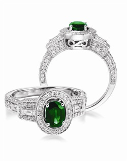 14K White Gold Emerald and Diamond Engagment Ring. A 0.85ct Oval Emerald is surrounded by 0.72cttw of round brillant diamonds