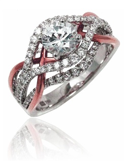 With a twist of polish gold and diamonds, this ring yells. Fun, Modern and Breath-taking. This Sage ring is shown with white gold and diamonds, and pink polish gold.Available in any size center and metal ( center not included ). 92 DIA 0.85 CT