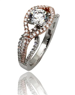 Our signature &quot; Microflow&quot; ring will keep you heart spinning. This Sage ring is shown in yellow gold and diamonds. Available in any size center and metal ( Center not included).