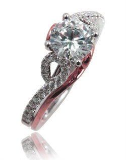 This A pure beauty. This Sage ring is shown with pink gold and diamonds set in the white gold. Available in any size center, shape and metal (Center not included). 34 DIA 0.27 CT