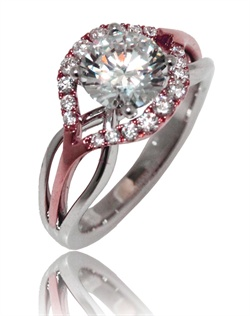 "The "" Flow"" ring can be defined in two words, Beautiful and Fun. This Sage ring is show in pink gold diamond top and white gold polish shank. Availablee in any size center and metal. ( center not included)  18 DIA 0.30 CT"