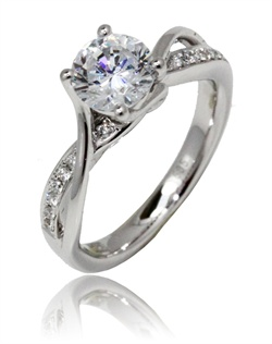 A simply gorgeous ring. This Sage ring is shown with diamonds set in the white gold Available in any size center, shape and metal (Center not included). 