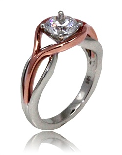 "The "" Polish flow"" is for that subtle women, that wants that modern twist. This Sage ring is shown with a combination of high polish pink gold top and white gold polish shank. Available in any size center. (center not included)"