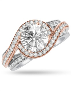 The twisted pink halo sparkles and uplifts the 1ct center stone in this showy pink and white engagement ring.  The ring has 0.58cts of Ideal Cut diamonds, F-G Color, SI1 Clarity set in 14Kt Pink, White, and/or Yellow Gold.  The center stone and matching wedding band are sold separately.